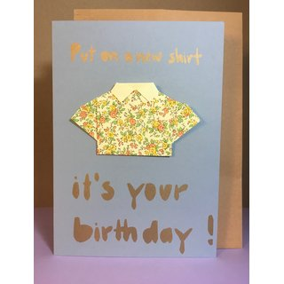 Put on a new shirt, Its your birthday! Origami Grau